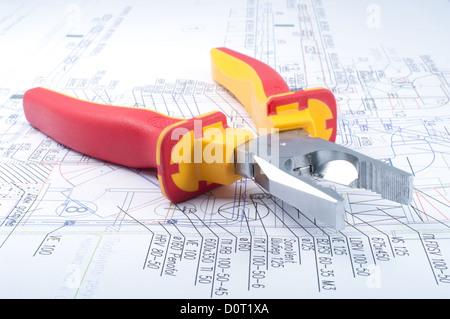 Pliers Tools on diagram - Stock Photo