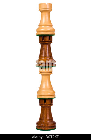 Close-up of a stack of rook chess pieces - Stock Photo