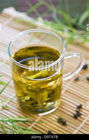Oolong Tea in glass - Stock Photo