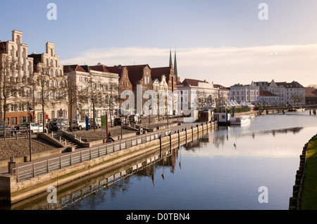 view along An der Obertrave, Luebeck, Schleswig-Holstein, Germany - Stock Photo