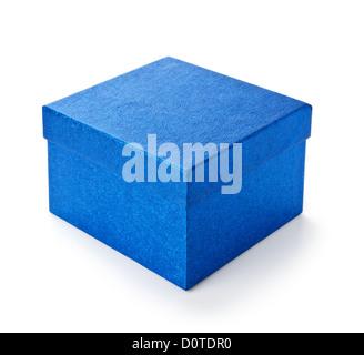 blue shiny gift box isolated on white background - Stock Photo