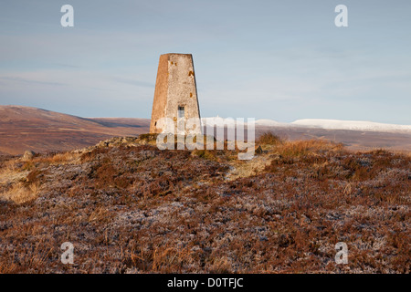 The Summit Trig on Cronkley Fell With the High Pennine Hills of Cross Fell and the Dun Fells Behind Teesdale County - Stock Photo