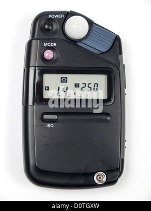 Photographic equipment light and flash meter isolated on white background - Stock Photo