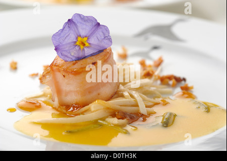Gourmet food - seared sea scallops with bacon - Stock Photo