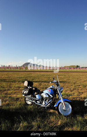 American flags, flags, Harley, Harley Davidson, bike, ride, freedom, grassland, Sturgis, South Dakota, USA, United - Stock Photo