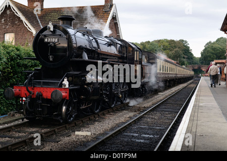 Ivatt class 4 number 43106 Steam Locomotive seen on the West Somerset Railway - Stock Photo