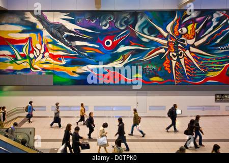Japan, Asia, holiday, travel, Tokyo, City, Shibuya, Station, art, colourful, hall, modern, mural, painting, transfer - Stock Photo