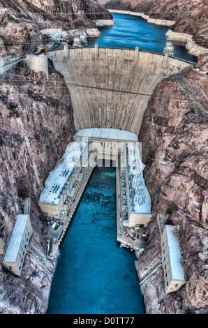 Hoover dam, lake mead, Arizona, USA, United States, America, Nevada, border, dam, water, energy, power, electricity, - Stock Photo