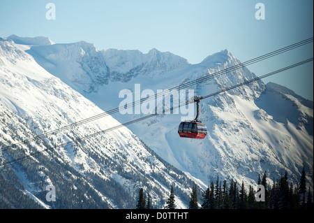 The Whistler Peak2Peak Gondola that runs from Whistler Mountain to Blackcomb Mountain. Whistler BC, Canada - Stock Photo
