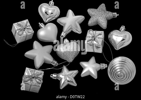New Year's toys on a Christmas tree - Stock Photo