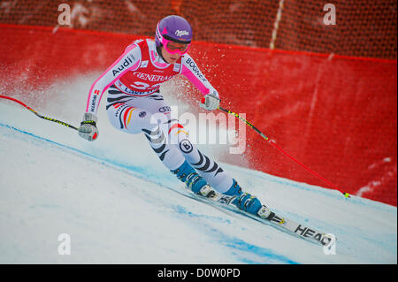 LAKE LOUISE, CANADA - NOVEMBER 30:  Maria Hoefl-Riesch, GER races down the course whilst competing in the Audi FIS - Stock Photo