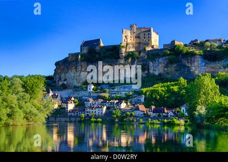 France, Europe, travel, Dordogne, Beynac, architecture, castle, landscape, medieval, morning, river, skyline, steep, - Stock Photo