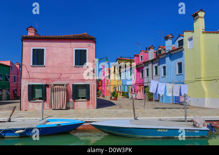 Italy, Europe, travel, Burano, architecture, boats, canal, colourful, colours, tourism, Venice - Stock Photo