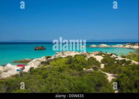 Chalkidiki, Greece, Halkidiki, Travel, vacation, Europe, European, day, Portokali Beach, Kavourotypes, Sithonia, - Stock Photo