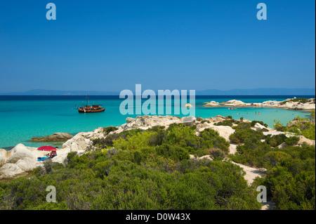 Chalkidiki, Greece, Halkidiki, Travel, vacation, Europe, European, day, Portokali Beach, Kavourotypes, Sithonia, beach, seashore Stock Photo