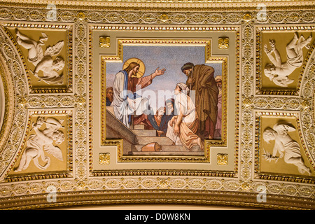 Jesus Christ mosaic in the St Stephen Basilica, Budapest, Hungary. - Stock Photo