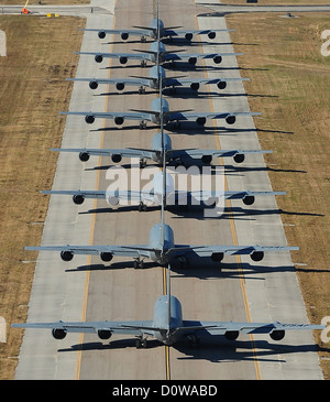 US Air Force KC-135 Stratotankers prepare for launch as part of an Elephant Walk January 20 2012 in Tampa, Florida. - Stock Photo