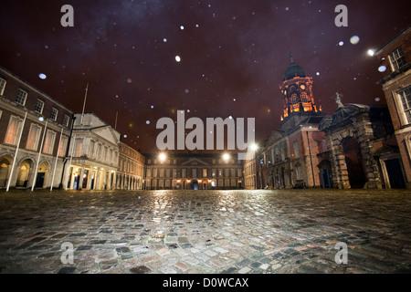 Dublin, Ireland, snow in the courtyard of Dublin Castle - Stock Photo
