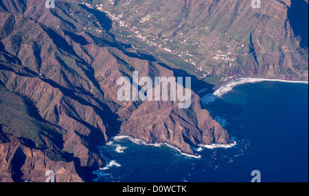 view from the plane at the spanish island La Gomera - Stock Photo