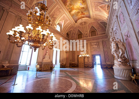 interior view of the baroque decoration of the 'The Room of the Bodyguards',  Royal Palace of Caserta, Italy. - Stock Photo