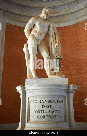 Baroque statue in the entrance hall to The Bourbon Kings of Naples Royal Palace of Caserta, Italy.  - Stock Photo