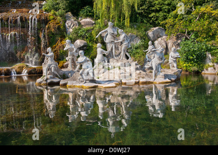 The Diana and Actaeon Fountain at the feet of the Grand Cascade. The Kings of Naples Royal Palace of Caserta, Italy. - Stock Photo