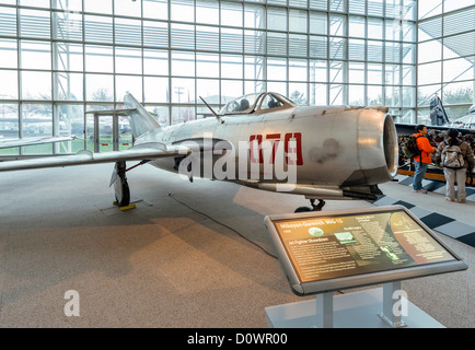 A 1950 Mikoyan-Gurevich MiG-15 fighter aircraft, The Great Gallery, Museum of Flight, Seattle, Washington, USA - Stock Photo