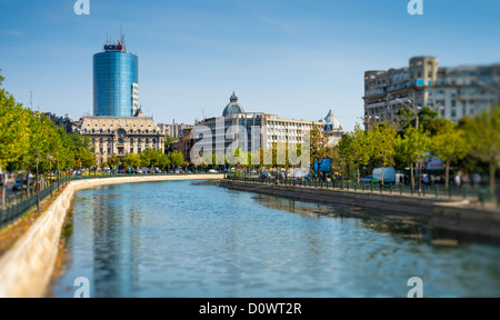 BUCHAREST, ROMANIA - September 29, 2012: View of the Dâmbovița River in Bucharest. - Stock Photo