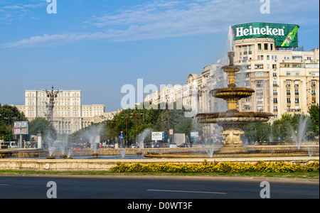 BUCHAREST, ROMANIA - September 29, 2012: View of the fountains in Piata Unirii, (Unification Square) located in - Stock Photo