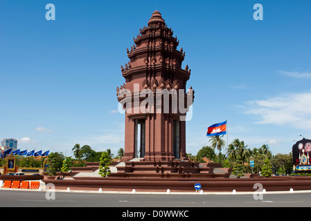 Independence Monument in the centre of Phnom Penh, Cambodia - Stock Photo