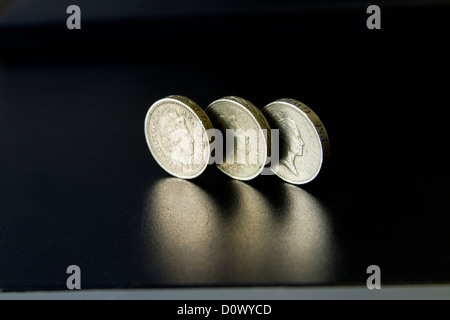 Pound Coins of the United Kingdom, Wealth, Money, Banks, Banking, - Stock Photo