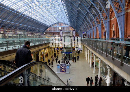 St. Pancras International Train Station in London. National and Eurostar trains depart from here. - Stock Photo