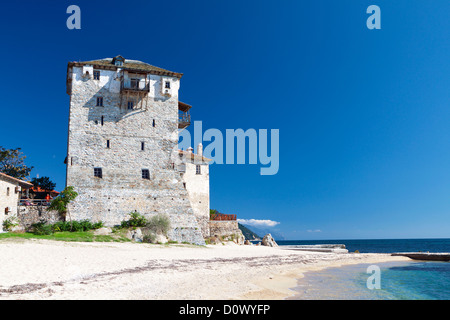 Tower of Ouranoupolis at Chalkidiki near mount Athos in Greece - Stock Photo
