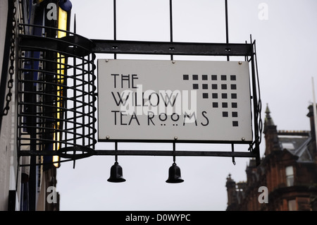 A decorative sign above the entrance for the Willow Tea Rooms in Buchanan Street, Glasgow, Scotland, UK - Stock Photo