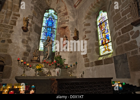 Interior of 15th century parish church of St Pierre (the patron saint of fishermen) in Le Mont-St-Michel Brittany - Stock Photo
