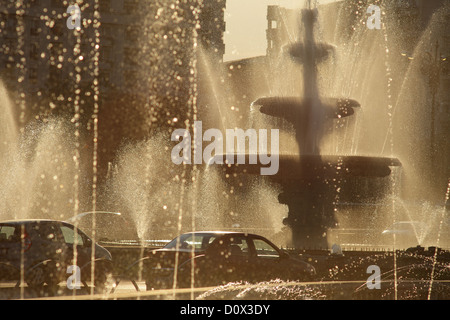 Bucharest, Romania, the fountain on the square of the unit - Stock Photo