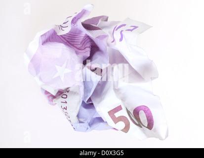 Berlin, Germany, crumpled 500-euro note - Stock Photo