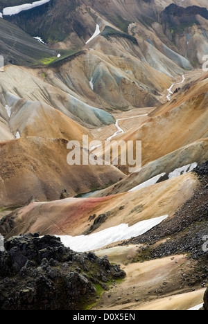 The colourful rhyolite mountains around Landmannalaugar, the start of the Laugavegur, a famous trekking route in - Stock Photo