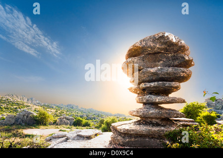 Famous limestone rock formation El Tornillo, the Screw, Corkscrew, in Torcal de Antequera a Karst mountain nature - Stock Photo
