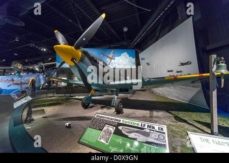 A Supermarine Spitire LF Mk IX, The World War II Gallery, Museum of Flight, Seattle, Washington, USA - Stock Photo