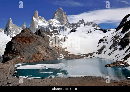 Monte Fitz Roy from the lookout in Los Glaciares National Park, El Chalten, Argentina - Stock Photo