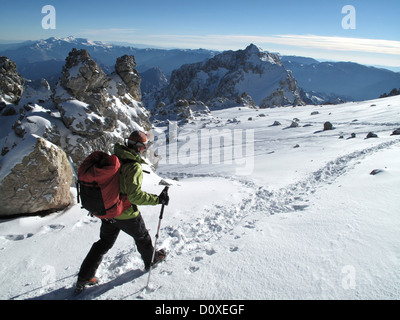 Woman at White Rocks on Aconcagua (6292m),   in the Andes Mountains, Mendoza Province, Argentina - Stock Photo
