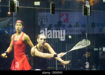 Women Finals of Cathay Pacific Sun Hung Kai Financial Hong Kong Squash Open 2012. Nicol David vs Camille Serme. - Stock Photo