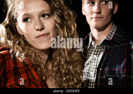 Couple close up, girl looking away - Stock Photo