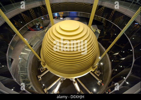 hard steel ball oscillations damp Asia Taipeh Taipei Taiwan skyscraper architecture technology technics engineering - Stock Photo