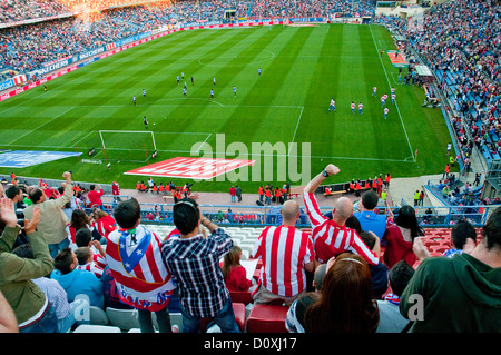 People celebrating a goal in the Atletico de Madrid-Hercules football match. Vicente Calderon stadium, Madrid, Spain. - Stock Photo