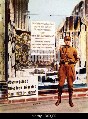 Brown, Shirt, Berlin, SA, standing, Jewish, store, propaganda, buy, German, shops, boycott, Germany, Third Reich, - Stock Photo