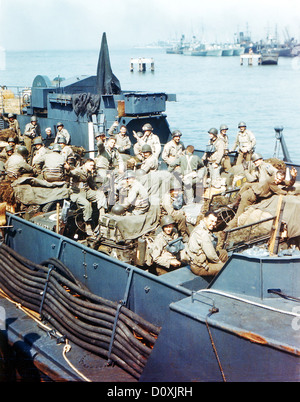 Operation, Overlord, Navy, Landing Crafts, ship, Southern England, British, soldiers, troops, invasion, France, - Stock Photo