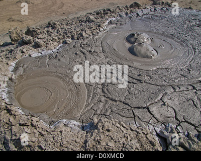 Azerbaijan, East, Asia, Caucasus, Quobustan, mud volcano, liquidly, mud, slime, slushy, mud hole, mud holes, volcano, - Stock Photo