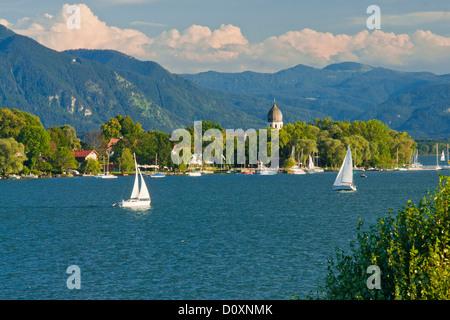 Bavaria, Germany, Europe, Upper Bavaria, Chiemsee, Chiemgau, sky, women's island, Fraueninsel, Frauenwörth, cloister, - Stock Photo